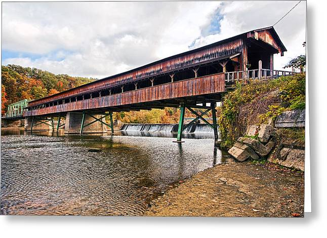 Mid Span Greeting Cards - Harpersfield Covered Bridge Greeting Card by Marcia Colelli