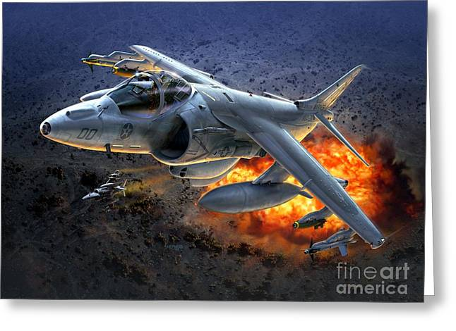 Harrier By Night Greeting Card by Stu Shepherd