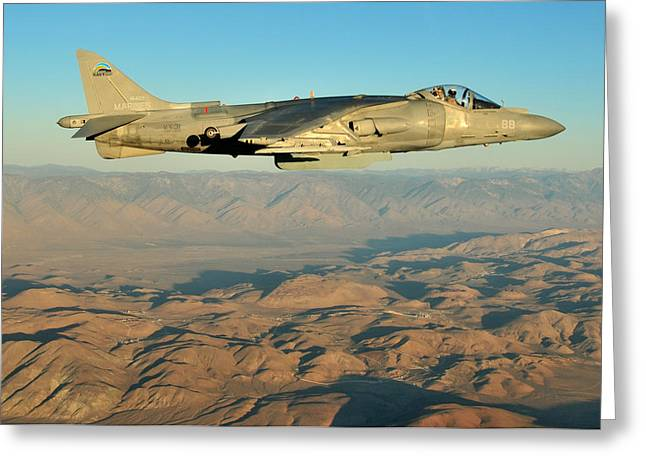 Jet Greeting Cards - Harrier over China Lake Greeting Card by Mountain Dreams