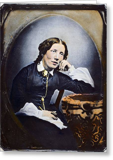 Abolition Photographs Greeting Cards - HARRIET BEECHER STOWE (1811-1896). American abolitionist and writer. Oil over a daguerrotype, c1852 Greeting Card by Granger