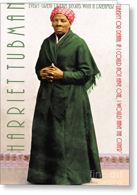 19th Century America Digital Greeting Cards - Harriet Tubman 20140210v1 with text Greeting Card by Wingsdomain Art and Photography