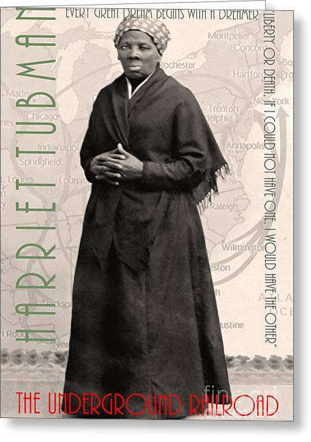 Slaves Greeting Cards - Harriet Tubman The Underground Railroad 20140210v2 with text sepia Greeting Card by Wingsdomain Art and Photography
