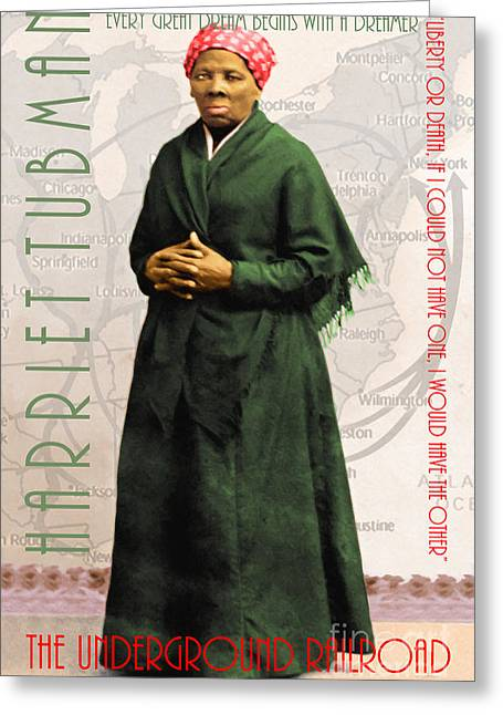 Slaves Digital Art Greeting Cards - Harriet Tubman The Underground Railroad 20140210v2 with text Greeting Card by Wingsdomain Art and Photography