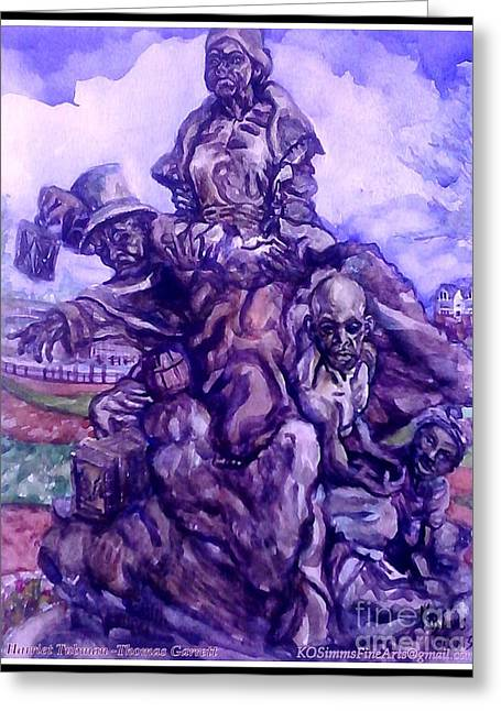 Slavery Paintings Greeting Cards - Harriet Tubman-Underground Railroad-Black Moses Greeting Card by Keith OBrien Simms