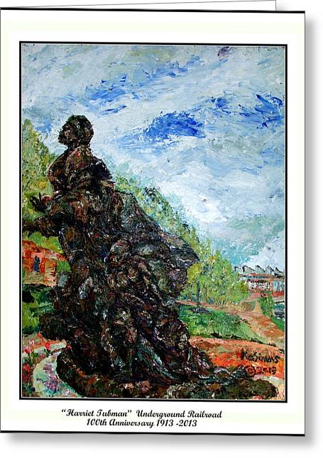 Acylic Paint Greeting Cards - Harriet Tubman-Underground Railroad Greeting Card by Keith OBrien Simms