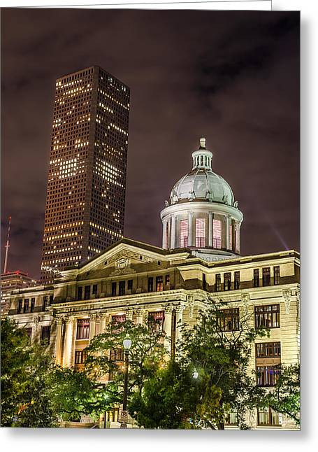 Night Photography Greeting Cards - Harris County Courthouse Greeting Card by David Morefield