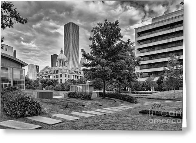 Congress Street Greeting Cards - Harris County Courthouse from Jury Summons Square Greeting Card by Silvio Ligutti
