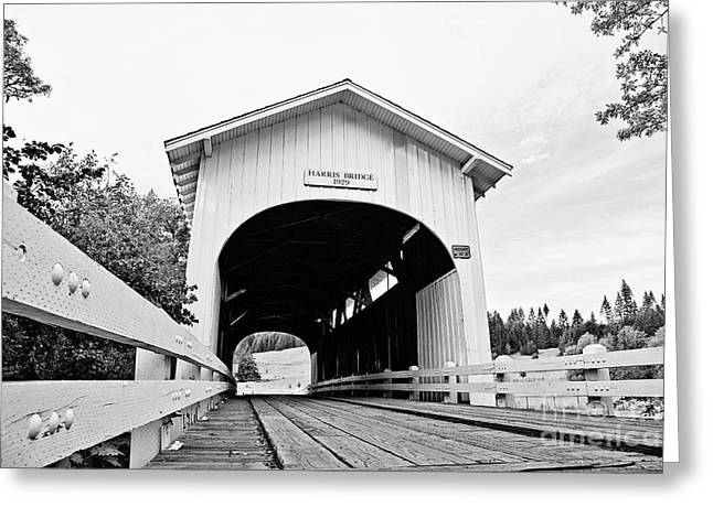 Roadway Greeting Cards - Harris Covered Bridge Greeting Card by Scott Pellegrin
