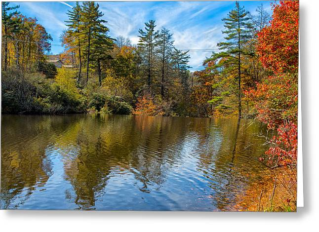 Mountain Road Greeting Cards - Harris Lake in Autumn Greeting Card by John Bailey