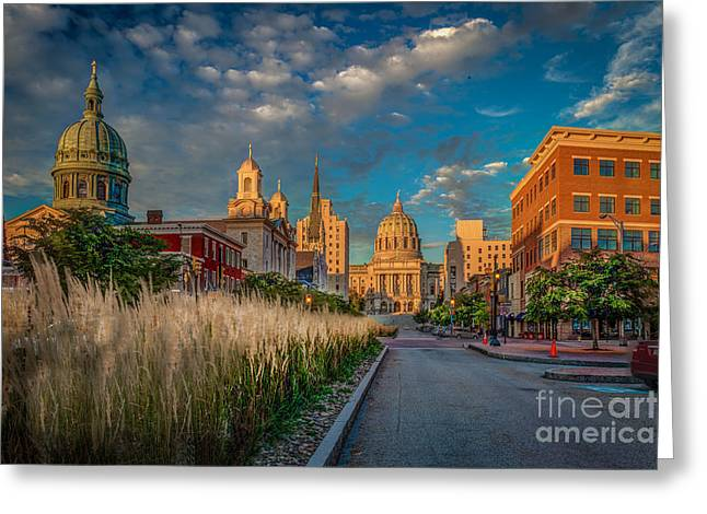 Steve Miller Greeting Cards - Harrisburg Capitol on State St. Greeting Card by Steve Miller