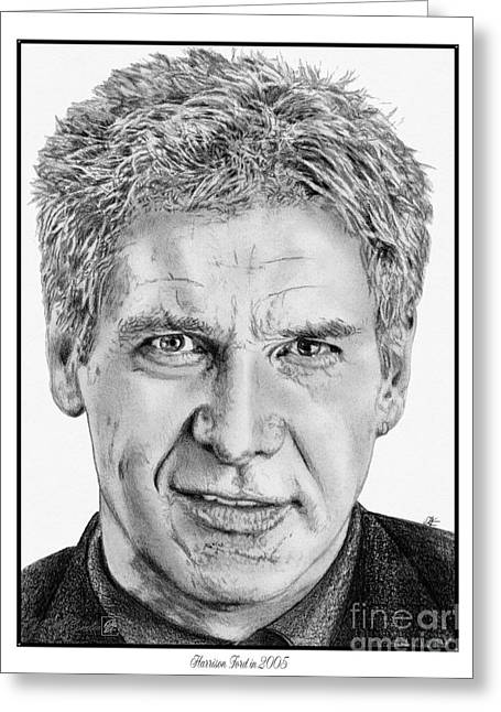 Indiana Images Drawings Greeting Cards - Harrison Ford in 2006 Greeting Card by J McCombie