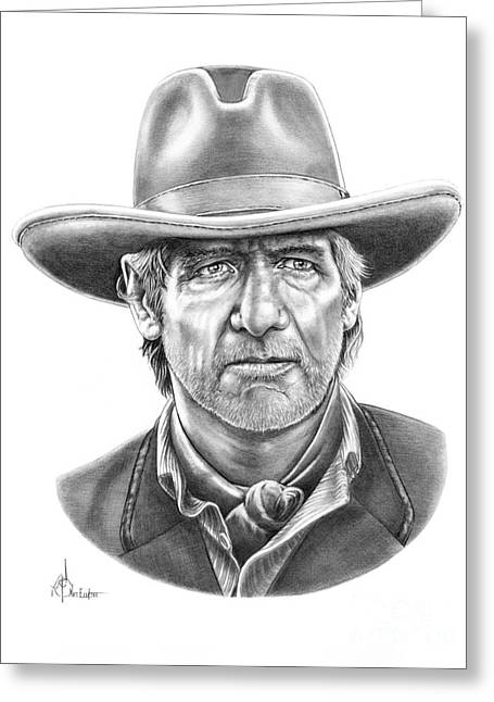 Cowboy Pencil Drawings Greeting Cards - Harrison Ford Greeting Card by Murphy Elliott