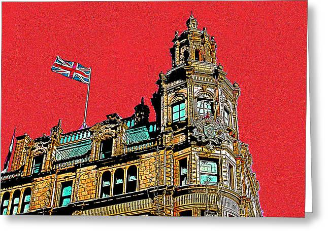 Knightsbridge Greeting Cards - Harrods And The Union Jack Greeting Card by Jeff Laurents