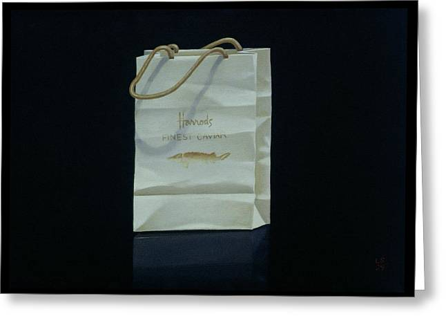 Department Stores Greeting Cards - Harrods Caviar Bag, 1989 Greeting Card by Lincoln Seligman
