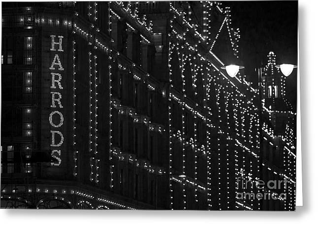 Knightsbridge Greeting Cards - Harrods Lights at Night Greeting Card by Clare Bambers