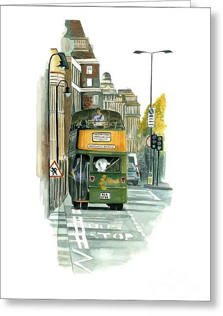 Hop On Hop Off Bus Greeting Cards - Harrods Tour Bus Greeting Card by Ambika Jhunjhunwala