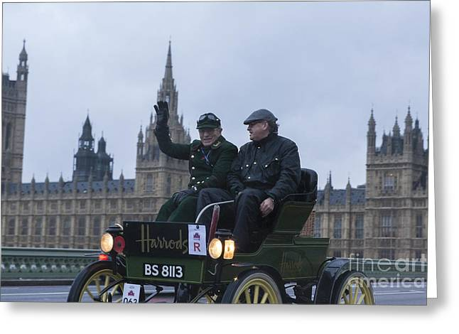 Rally Greeting Cards - Harrods Veteran Car Greeting Card by Philip Pound