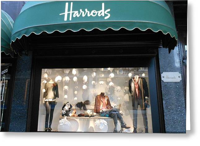 Harrods Greeting Cards - Harrods Window Shopping Greeting Card by Kay Gilley