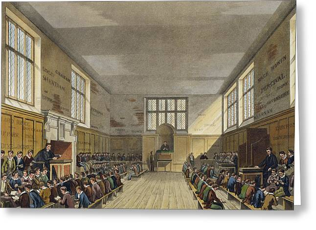 Kids Books Drawings Greeting Cards - Harrow School Room From History Greeting Card by Augustus Charles Pugin