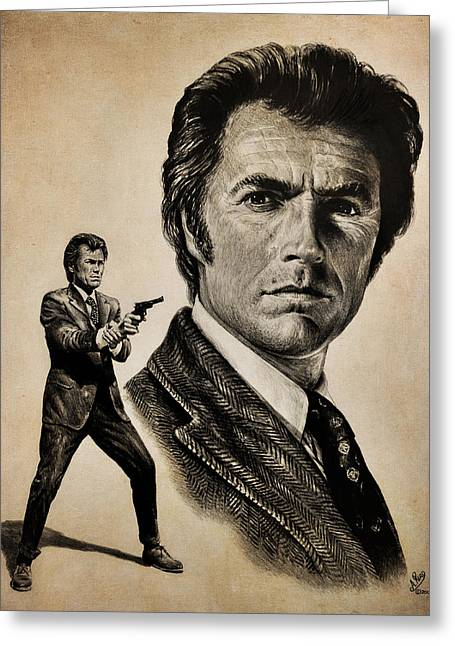 Movie Drawings Greeting Cards - Harry Callahan  tan version Greeting Card by Andrew Read