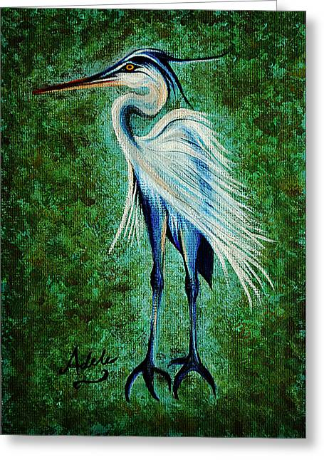 Great Birds Greeting Cards - Harry Heron Greeting Card by Adele Moscaritolo