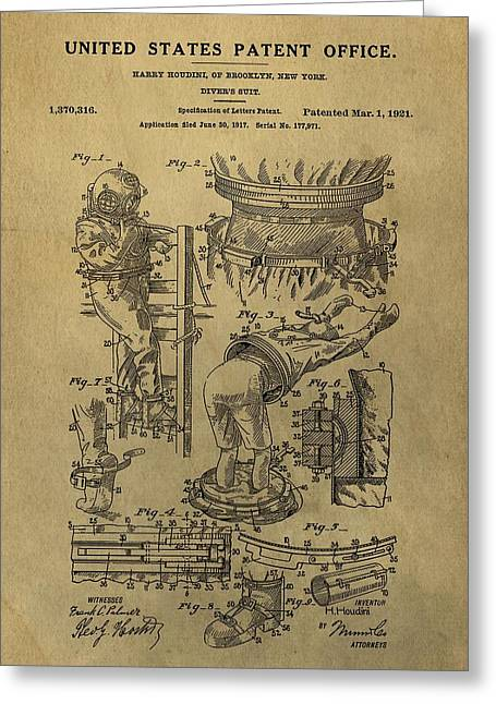 Escape Mixed Media Greeting Cards - Harry Houdinis Diving Suit Patent Greeting Card by Dan Sproul