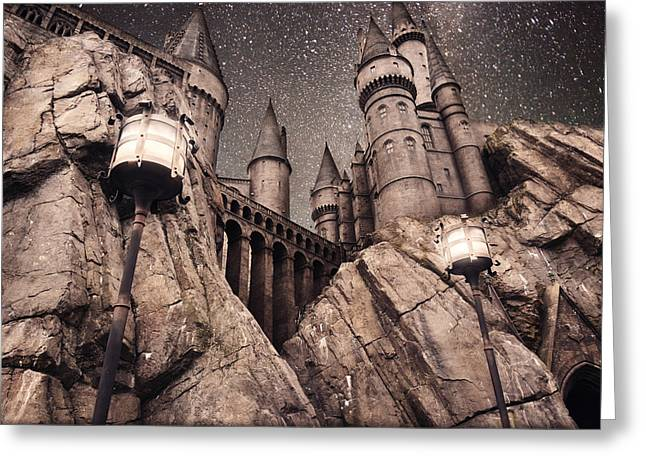 Stary Sky Greeting Cards - HogWarts Castle Harry Potter Greeting Card by Robert Jones