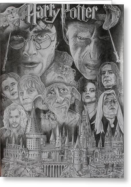 Montage Drawings Greeting Cards - Harry Potter Montage Greeting Card by Mark Harris
