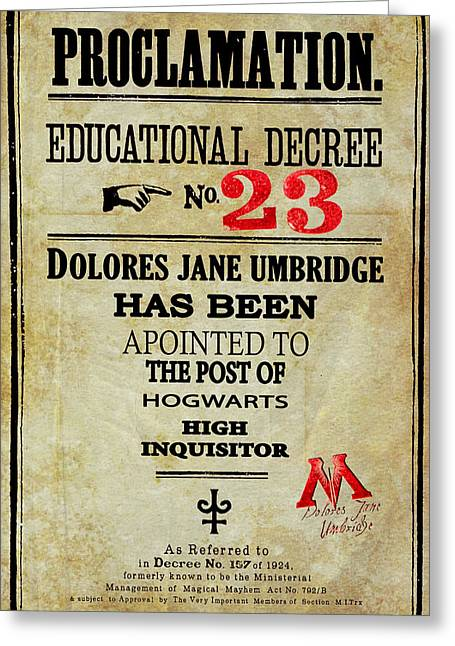 Decree Greeting Cards - Harry Potter Proclamation Educational Decree 23 Greeting Card by Pete Baldwin