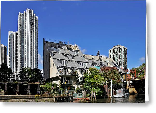 Designs Greeting Cards - Harry Weeses Chicago River Cottages Greeting Card by Christine Till