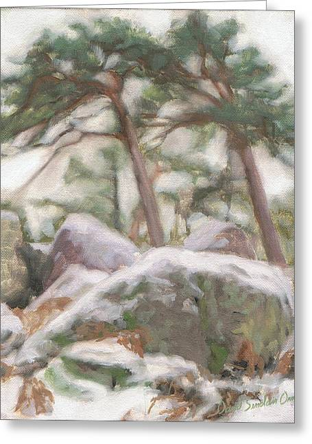 Fontainebleau Forest Greeting Cards - Harsh winter - hiver rude Greeting Card by David Ormond