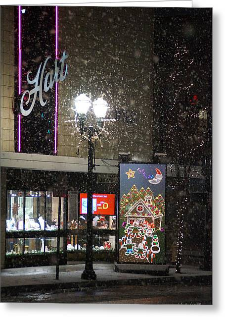 Hart In The Snow - Grants Pass Greeting Card by Mick Anderson