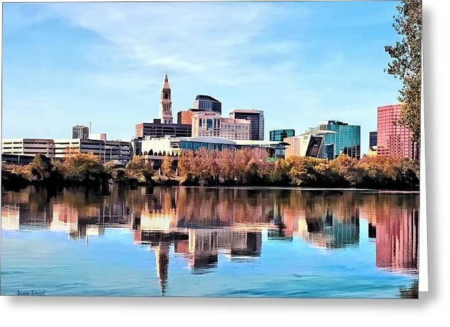 Sky Greeting Cards - Hartford CT Skyline Greeting Card by Susan Savad