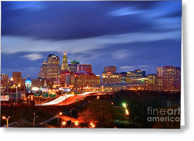 Connecticut Greeting Cards - Hartford Skyline at Night Greeting Card by Jon Holiday