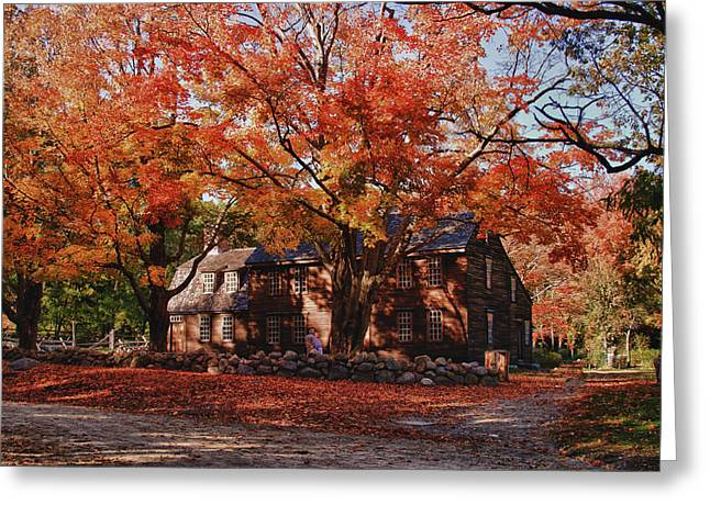 Concord Greeting Cards - Hartwell tavern under canopy of fall foliage Greeting Card by Jeff Folger