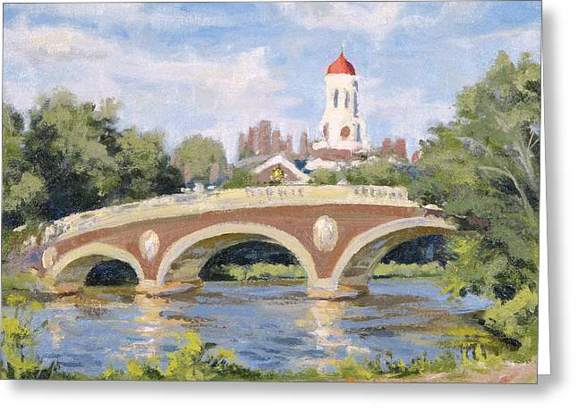 Charles River Paintings Greeting Cards - Harvard Footbridge Greeting Card by Steven A Simpson