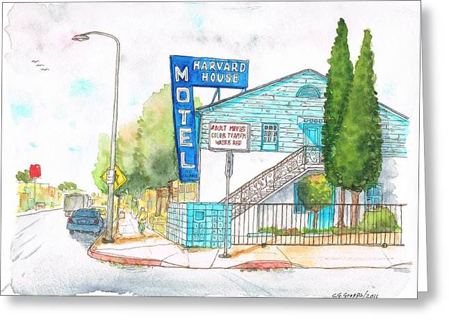 Acuarelas Greeting Cards - Harvard House Motel in Hollywood Blvd - Los Angeles - California Greeting Card by Carlos G Groppa