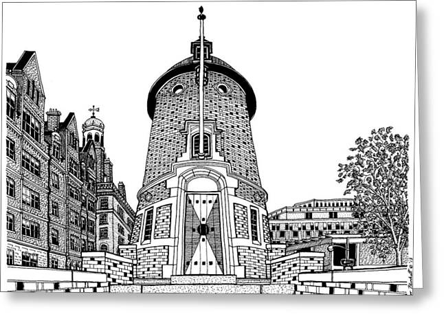 Conor Drawings Greeting Cards - Harvard Lampoon Building Greeting Card by Conor Plunkett