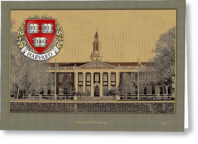 Coa Greeting Cards - Harvard University building overlaid with 3D Coat of Arms Greeting Card by Serge Averbukh