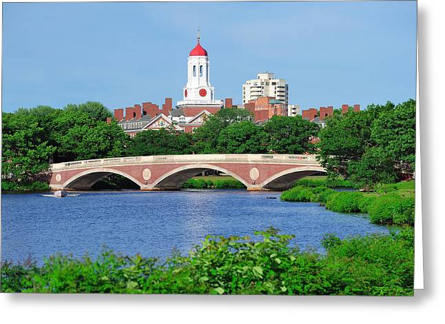 Red School House Greeting Cards - Harvard University campus in Boston Greeting Card by Songquan Deng