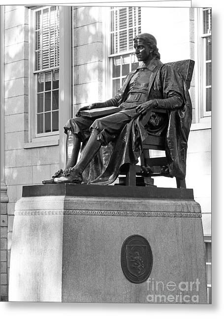 John Harvard Statue At Harvard University Greeting Card by University Icons