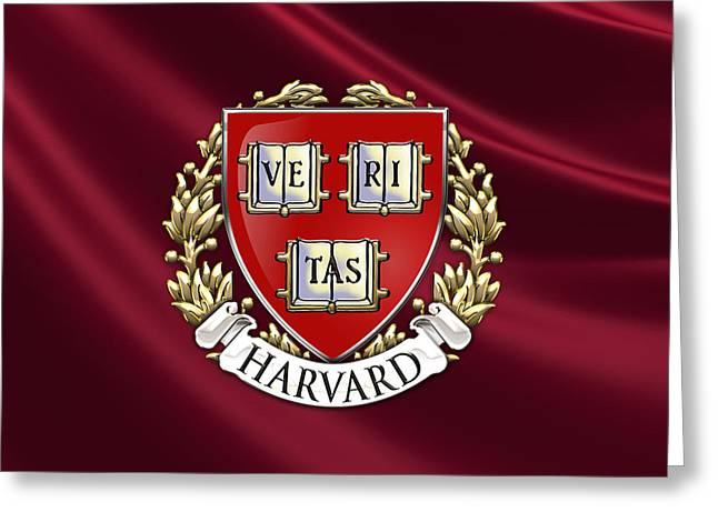 Patch Greeting Cards - Harvard University Seal - Coat of Arms over Colours Greeting Card by Serge Averbukh