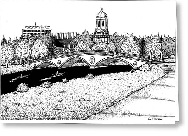 Charles River Drawings Greeting Cards - Harvard Weeks Footbridge Greeting Card by Conor Plunkett