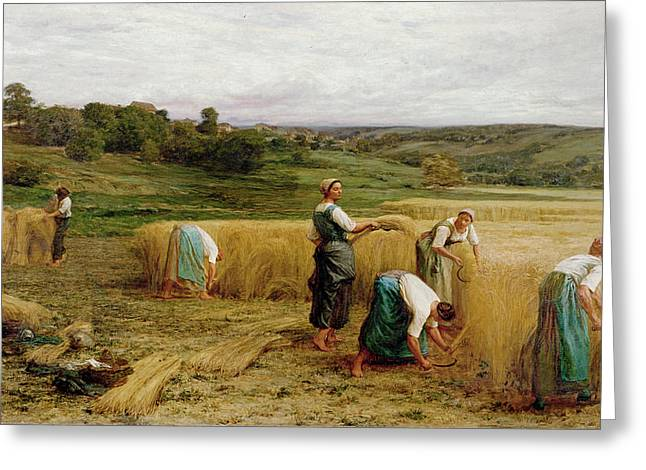 Manual Greeting Cards - Harvest, 1874 Oil On Canvas Greeting Card by Leon Augustin Lhermitte