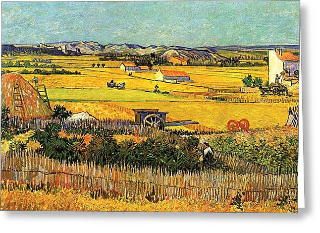 Golden Greeting Cards - Harvest at La Crau with Montmajour in the Background Greeting Card by Vincent Van Gogh