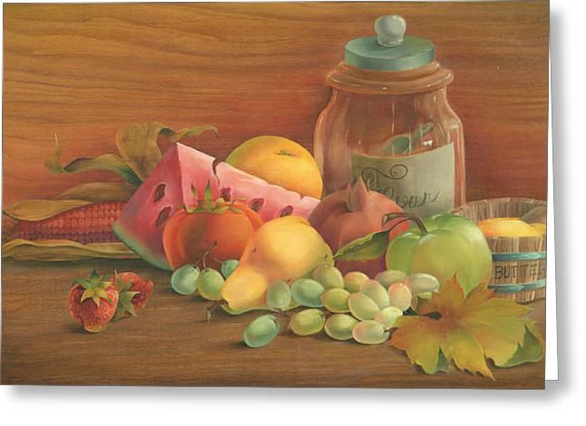 Watermelon Greeting Cards - Harvest Fruit Greeting Card by Doreta Y Boyd