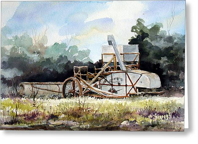 Machine Paintings Greeting Cards - Harvest is Over Greeting Card by Sam Sidders