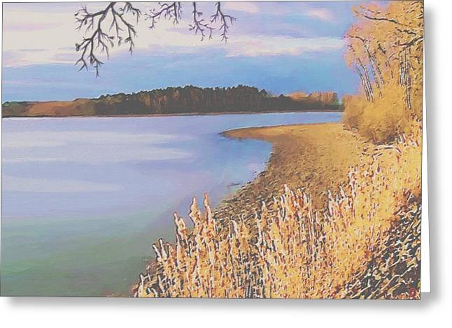 Rural Scene Pastels Greeting Cards - Harvest Lake Greeting Card by SophiaArt Gallery