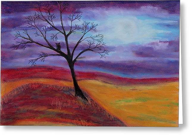 Horizon Pastels Greeting Cards - Harvest Moon 3 Greeting Card by Jeanne Fischer