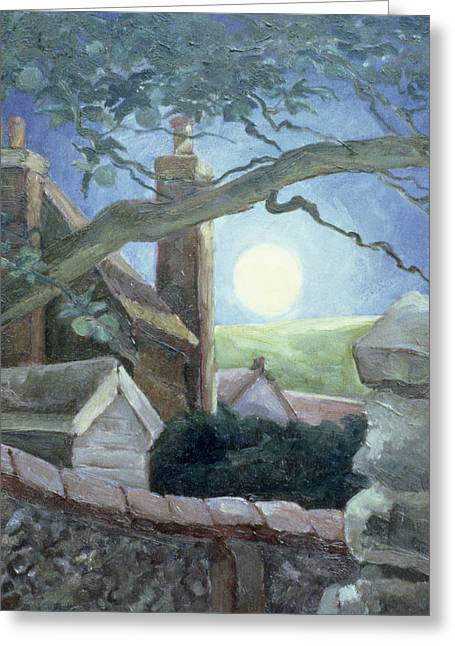 Moonlight Scene Paintings Greeting Cards - Harvest Moon Greeting Card by Cristiana Angelini